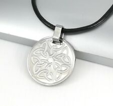 Silver Irish Celtic Trinity Knot Pendant 3mm Black Leather Cord Tribal Necklace