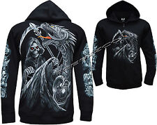 Grim Reaper Glow In The Dark Dragon Skull Axe Zip Zipped Hoodie Hoody Jacket
