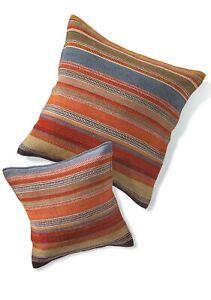 Ooty Kilim Cushion Covers Multi Colour Wool Cotton Stripe