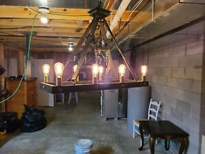 UTTERMOST MARLOW 8 LIGHT AGED METAL DINING CHANDELIER WITH LEATHER STRAPS