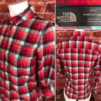 The North Face Medium Womens Button Front Shirt Roll Tab Sleeves Plaid F116