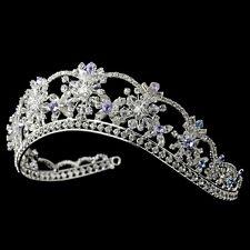 Amethyst & Light Blue Bridal Wedding Tiara Crown w Swarovski Crytals Rhinestones
