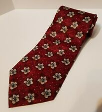 """Stafford Executive Red Maroon Neck Tie. 100% Silk 58"""" Floral"""