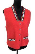 Vintage Pendleton Women's Fair Isle Wool Sweater Vest Floral Red Size Medium