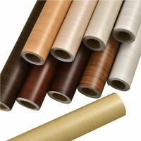 PVC Vinyl Wood Grain Contact Paper Kitchen Cabinets Shelf Liner Wardrobe Improve