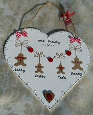 STUNNING- IDEAL CHRISTMAS PRESENT personalised 'GINGERBREAD FAMILY' HEART