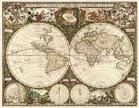 MAP ANTIQUE DE WIT 1660 WORLD ATLAS HISTORIC LARGE REPLICA POSTER PRINT PAM0880