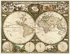 MAP ANTIQUE DE WIT 1660 WORLD ATLAS HISTORIC LARGE REPLICA POSTER PRINT PAM0880