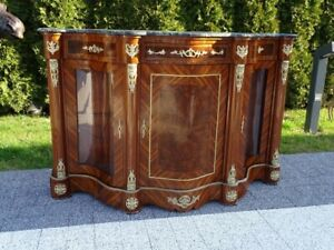 COMMODE - BAROQUE STYLE WOOD / BRASS COMMODE WITH MARBLE TOP #LU39