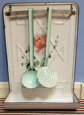 More details for vintage white with rose enamel utensil rack with ladle and strainer, drip tray