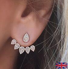Women's Double Sided Shiney Gold Rhinestone Earrings - UK Free P&P