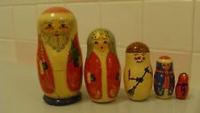 1992 Russian Vintage Wood Hand Painted Santa Christmas 5 Nesting Dolls, Signed