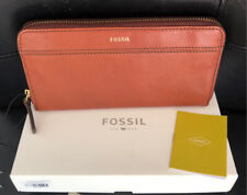 NWT FOSSIL Tiegan Brown Leather Zip Wallet Clutch