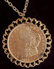 1921 Morgan Silver Dollar Necklace Gold Tone Fancy Sun Burst Bezel