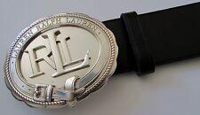 NWT RALPH LAUREN Women Equestrian Black Leather Belt Silver Logo RLL Sz L