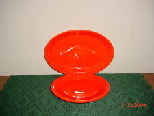 "2-PC FIESTA HOMER LAUGHLIN POPPY ""ORANGE"" PLATTER & SALAD PLATE/FREE SHIP!"