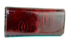 Auth CARTIER Happy Birthday Wine Red Patent Leather Long Bifold Wallet Purse