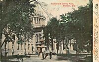 MADISON WISCONSIN~FOUNTAIN IN CAPITOL PARK 1907 POSTCARD
