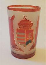 19 C. Bohemian Hand Painted Glass Beaker Hungarian Coat Of Arms