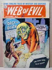Web of Evil 6 ZOMBIE ORGY OF DEATH Cover/Story 1953 Quality Pre-Code Horror RARE
