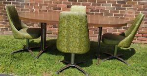 Chromcraft 70s Modern Dining Table & 4 Swivel Chairs Green Floral Retro Mod Set