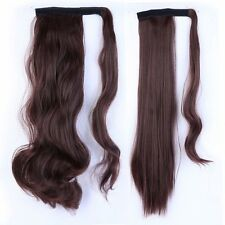 Real Thick Clip In Human Remy Hair Extensions Pony Tail Wrap On Ponytail Brown