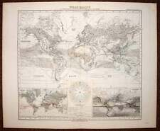carte geographique originale MAPPEMONDE GLOBE TERRESTRE 19eme siecle
