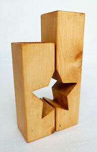 Set of 2 Handmade Star Shaped Wooden Tea Light Holders Rustic Anique Pine colour