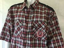 Red Ape Flannel Shirt Red Black 3XL Authentic Plaid Button Shirt Crested S/S
