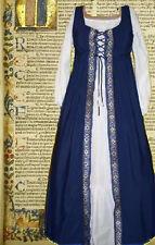 Sca Garb Costume Renaissance Medieval Navy Floral FrtLc Irish SzFlex Cotton L Xl