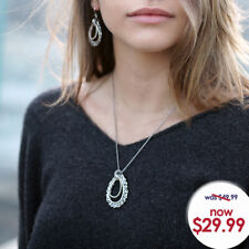 Paz Creations .925 Sterling Silver Lace Drop Necklace, Made in Israel
