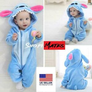 Baby Flannel Romper Animal Pajamas Outfits Suit Stitch Costume Stitch