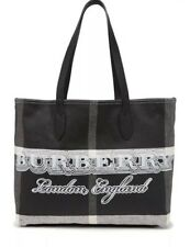 Burberry Medium DOODLE Reversible Black Coated Canvas Leather Tote Handbag