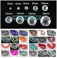 10/12/14/16/18mm Faceted Rondelle Crystal Glass Loose Spacer Beads 95 Colors