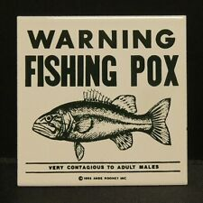 "Dollhouse Miniatures Metal Sign Advertising WARNING FISHING POX 1 3/4"" x 1 3/4"""
