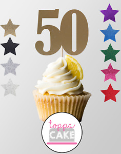 6 12 24 Gold 50th Cupcake Toppers Birthday Anniversary Cute