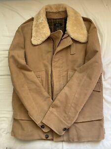 APC Tan Suede Coat w/ Removable Fur Collar