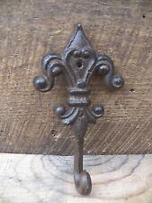 1 Antique-Style Rustic FLEUR DE LIS School COAT HOOK Cast Iron Wall  Hardware