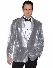 Disco Musical Jazz Rockstar Rocker Pimp Costume Silver Sequin Jacket