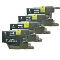4x Black Ink Cartridges LC75 LC1240 Compatible For Brother Printers Inkjet