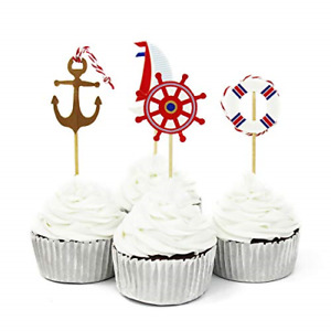Little Boy Birthday Baby shower Ocean Theme cupcake Party 12 cupcake toppers Birthday Anchors