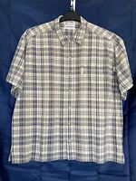 Columbia Sportswear Mens Short Sleeve Brown Checked Button Up Shirt Size XXL