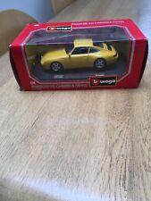 PORSCHE 911 CARRERA 1993 YELLOW 1/24 SCALE BURAGO CLASSIC - DIECAST MODEL CAR