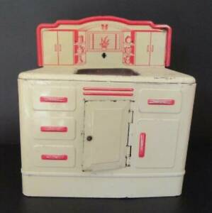 Vintage 1950s Woverine Red and White Tin Litho Toy Kitchen