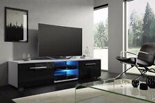 Tenus - meuble TV - 140 cm - Blanc, Noir, Effet Chêne - LED bleue optionnelle