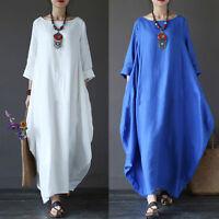 Women Plus Size Loose Casual Long Maxi Dress Kaftan Abaya Long Shirts Gown