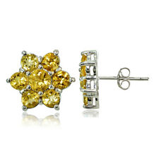 Sterling Silver Citrine Flower Stud Earrings