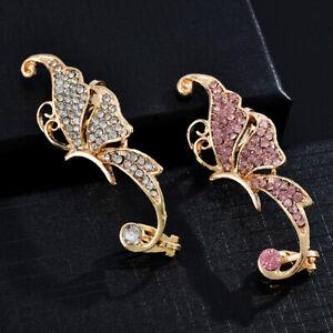 1pc Clip on Butterfly Cuff Earrings Crystal Women's Jewelry