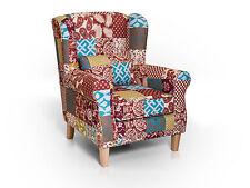 WILLY Ohrensessel 1-Sitzer Polstersessel Sessel Wohnzimmer Stoff Patchwork Bunt