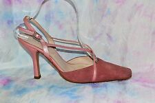NEXT size 4 / 37 Pretty Pearlised Dusky Pink Slingback Suede Sandals *Cleaned